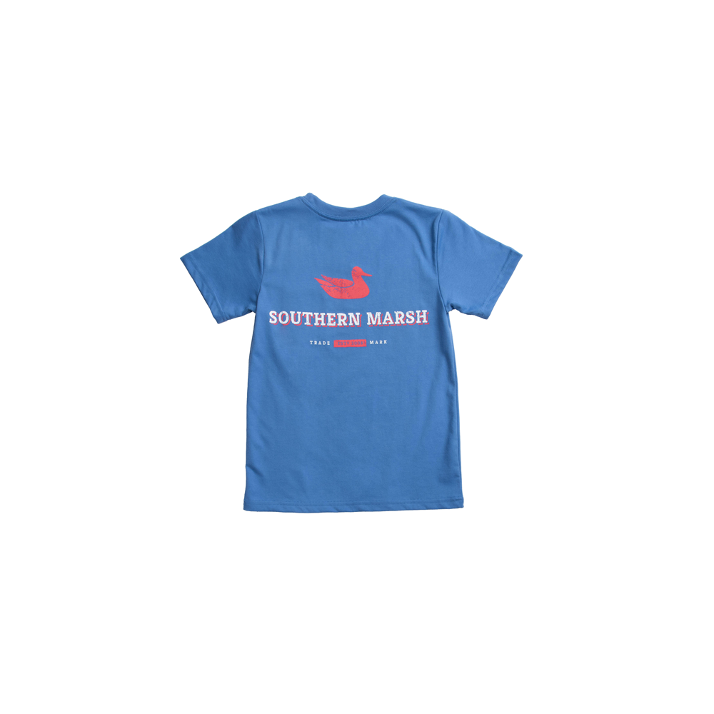 Southern Marsh Youth Trademark Duck Tee in Oxford Blue