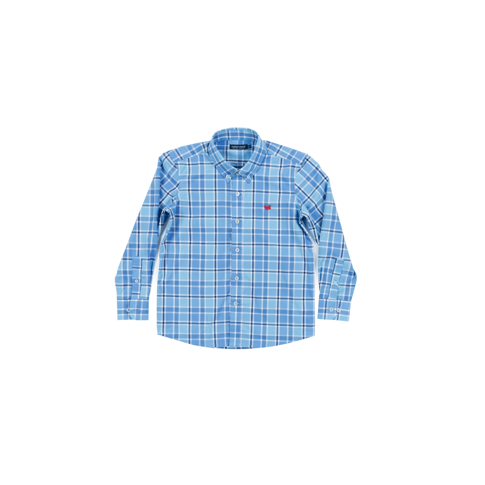 Southern Marsh Youth Brevard Plaid Dress Shirt in Navy and Blue