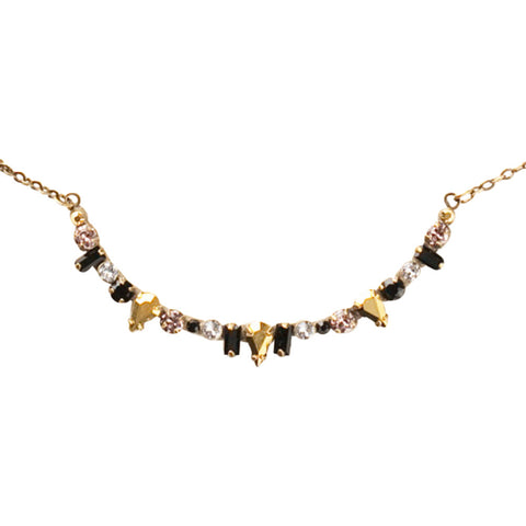 Sorrelli Delicate Multi-Cut Crescent Pendant in Black Fringe (Antique Gold-Tone finish)
