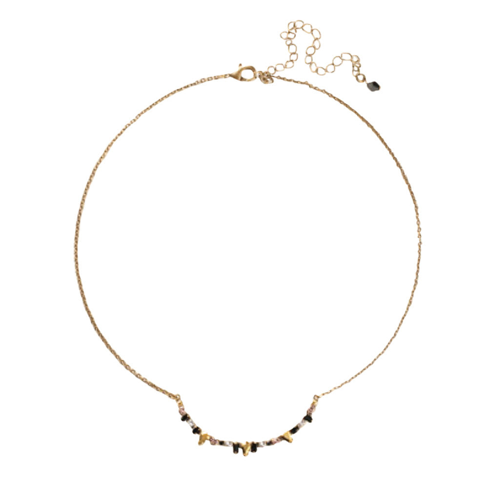 Womens Sorrelli Delicate Multi-Cut Crescent Pendant Choker Necklace in Black Fringe (Antique Gold-Tone finish) - Brother's on the Boulevard