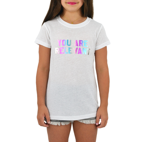 Tween Girls Tween Girls Suburban Riot You Are Relevant Tee in White - Brother's on the Boulevard