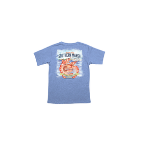 Boys Southern Marsh Youth Shrimp Festival Tee in Washed Blue - Brother's on the Boulevard