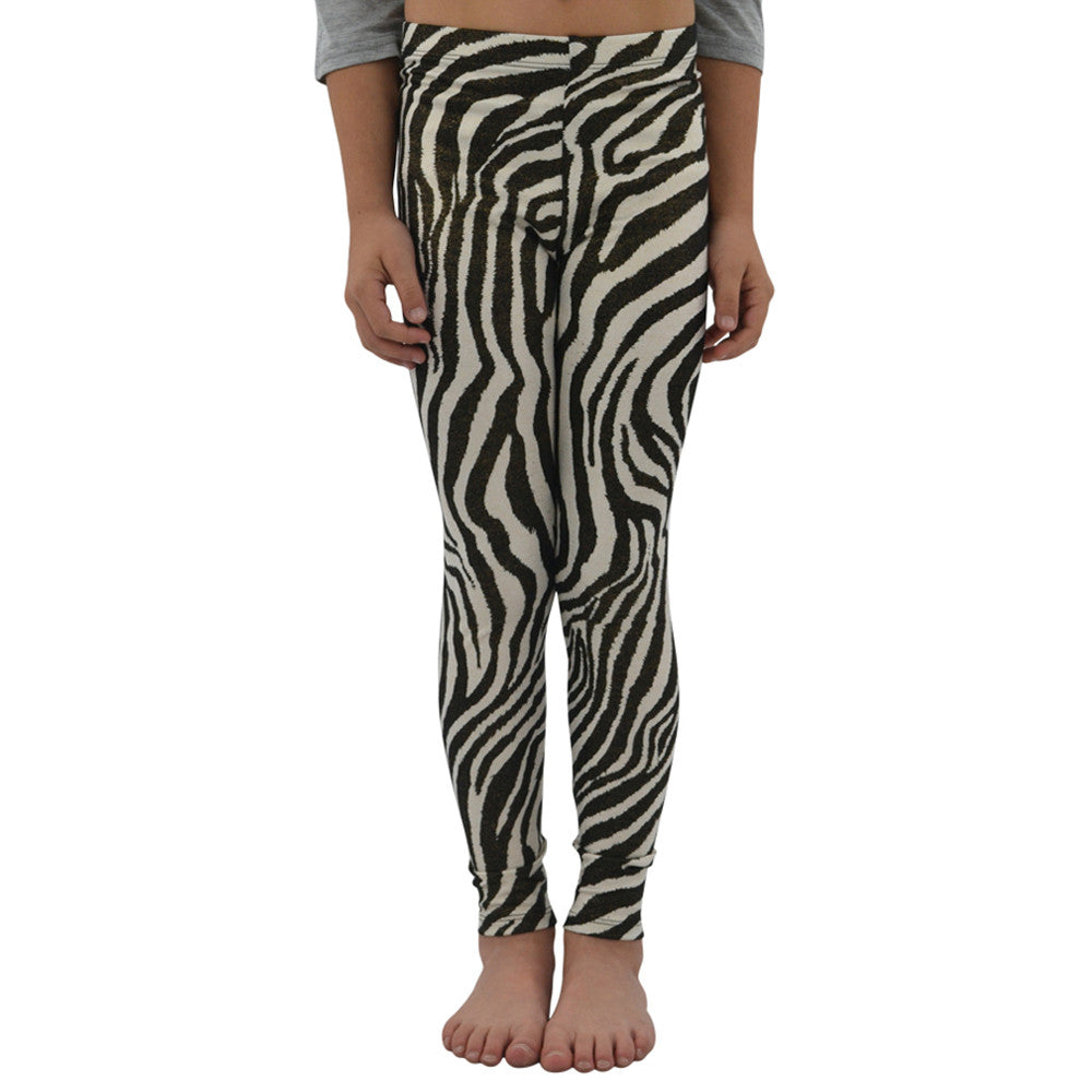 Weekend Vibes Girls Zebra Leggings in Metallic