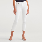 7 For All Mankind Roxanne Mid Rise Ankle Skinny with Raw Hem in White Fashion