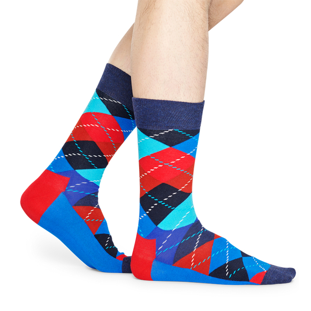 Happy Socks Argyle Print in Blue and Red