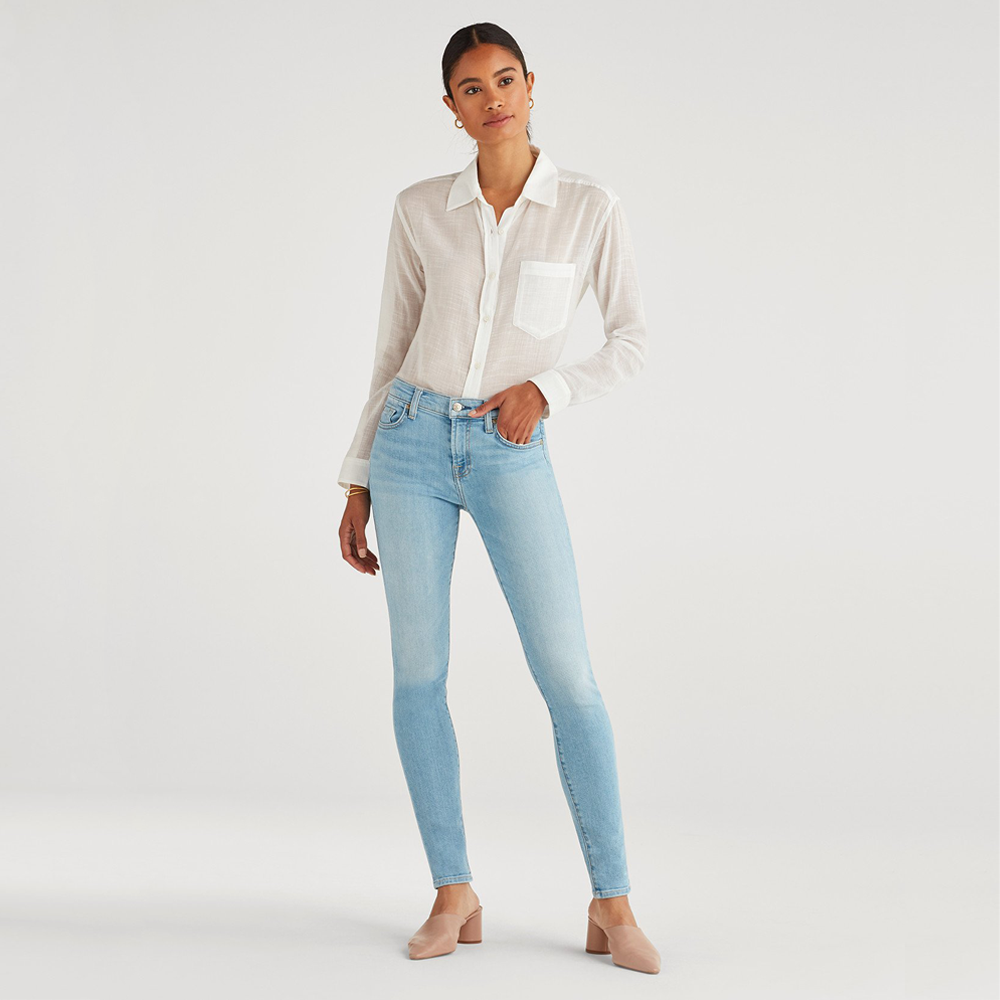 Womens 7 For All Mankind The Skinny Mid Rise Skinny Full in Roxy Lights - Brother's on the Boulevard