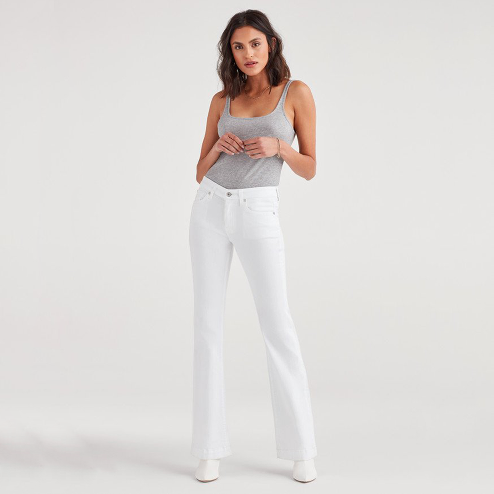 Womens 7 For All Mankind Dojo Mid Rise Wide Leg Full Length in White Runway - Brother's on the Boulevard