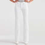 7 For All Mankind Dojo Mid Rise Wide Leg Full Length in White Runway