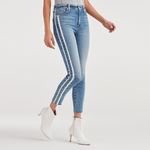 7 For All Mankind Ankle Skinny Mid Rise with Cut Off Hem and Double White Stripes in Sloane Vintage