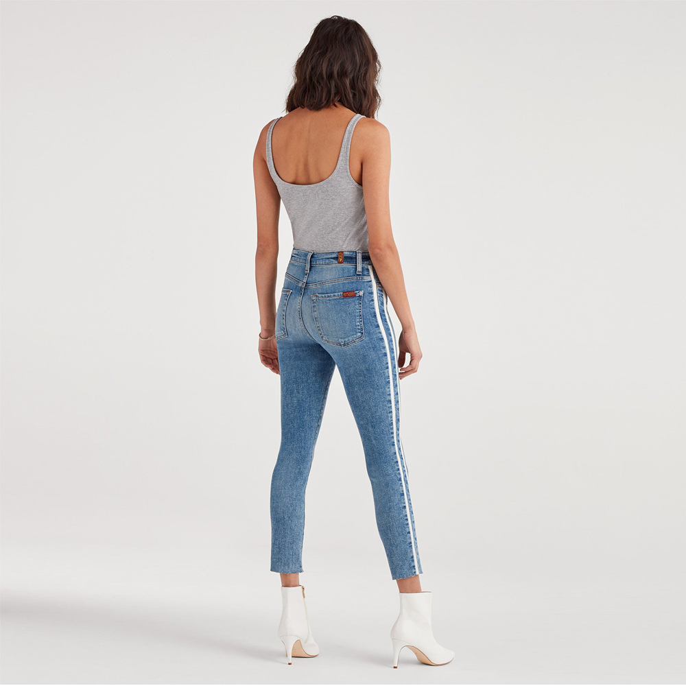Womens 7 For All Mankind Ankle Skinny Mid Rise with Cut Off Hem and Double White Stripes in Sloane Vintage - Brother's on the Boulevard