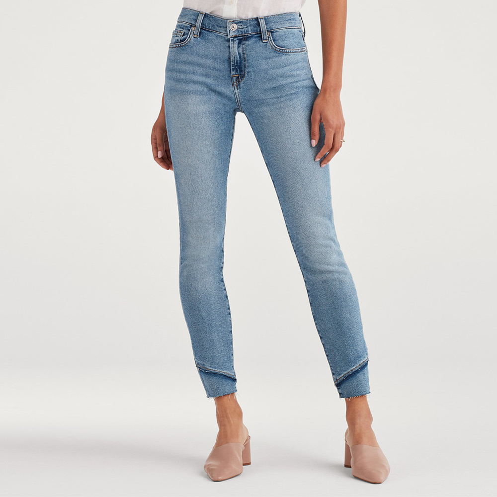7 For All Mankind Luxe Vintage High Rise Ankle Skinny Jean with Fray Staggered Hem in Flora