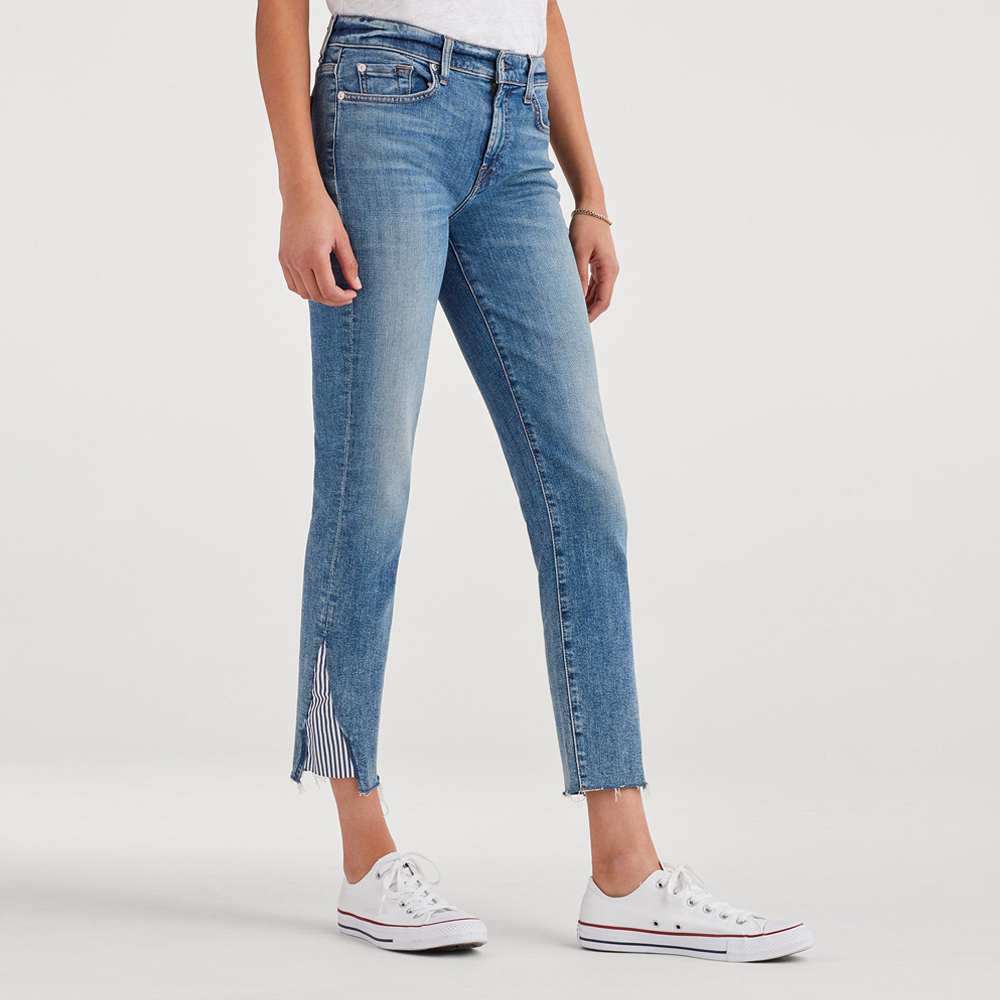 Womens 7 For All Mankind Ankle Skinny with Stripe Kick at Hems in Sloane Vintage - Brother's on the Boulevard