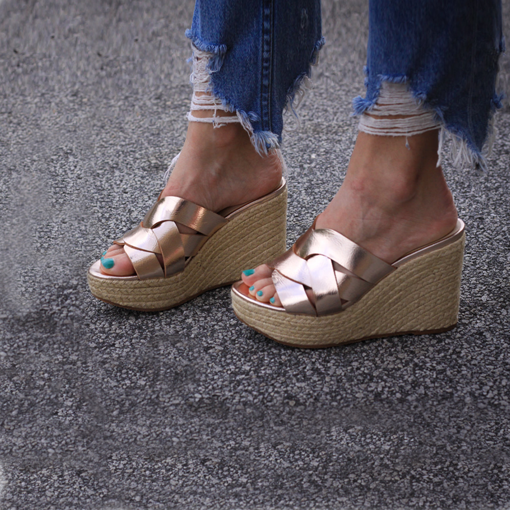 BC Footwear by Seychelles Eden Wedge in Rose Gold