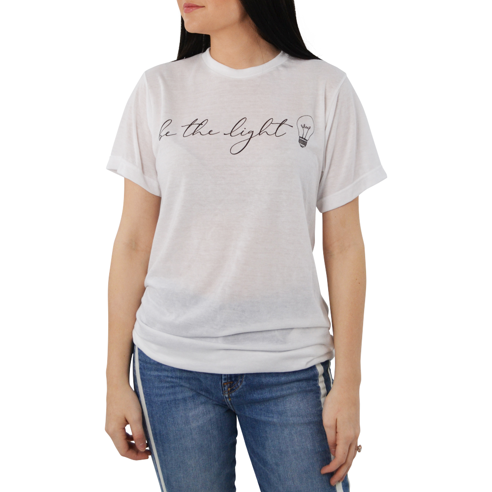 "Womens Brother's ""Be the Light"" Tee in White - Brother's on the Boulevard"