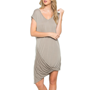 Womens C.O.A Pleated Asymmetrical Hem V Neck Dress in Mocha - Brother's on the Boulevard