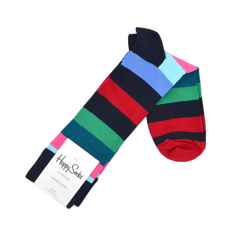 Mens Happy Socks Stripe Sock in Black Multi - Brother's on the Boulevard