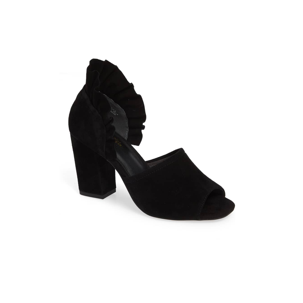 Seychelles Ruffle Back Suede Heel in Black