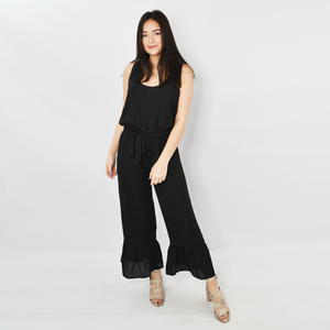 Catherine Kate Nova Ruffled Cropped Jumpsuit in Black