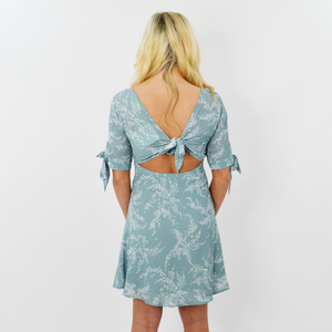 Womens Rouge V-Neck Keyhole Back Floral Dress in Sage - Brother's on the Boulevard