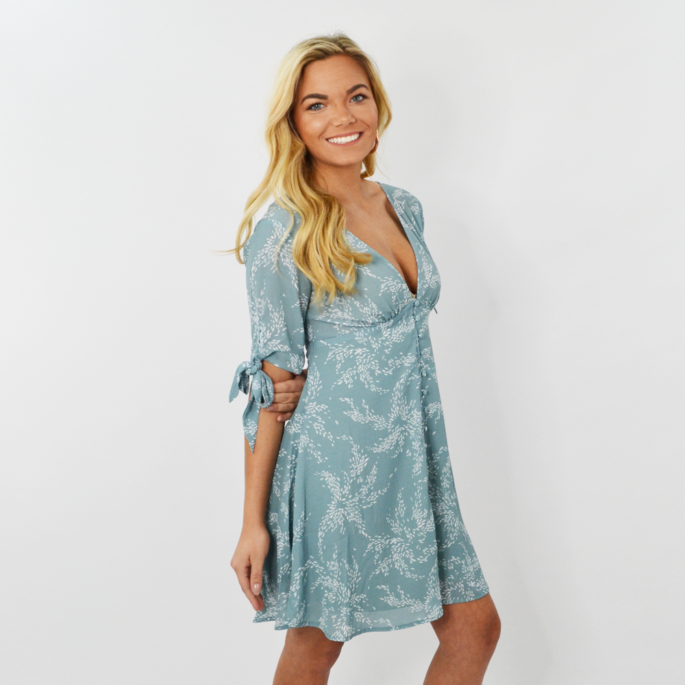 Rouge V-Neck Keyhole Back Floral Dress in Sage