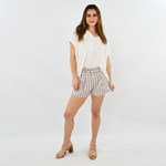 Rouge Buckle Belted Striped Shorts in Coconut Brown