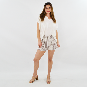 Womens Rouge Buckle Belted Striped Shorts in Coconut Brown - Brother's on the Boulevard