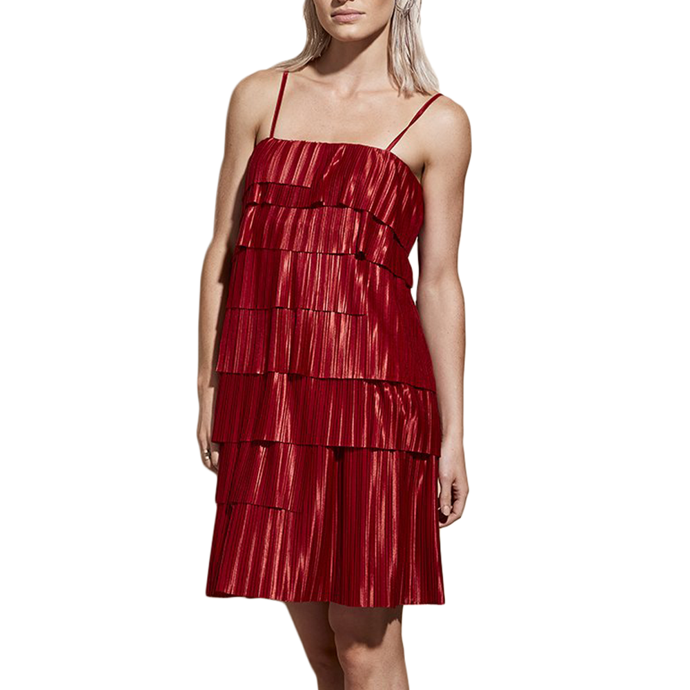 Catherine Kate Illume Pleat Dress in Ruby