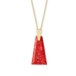 Kendra Scott Collins Gold Long Pendant Necklace In Bronze Veined Red Magnesite