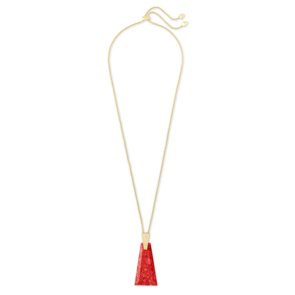 Womens Kendra Scott Collins Gold Long Pendant Necklace In Bronze Veined Red Magnesite - Brother's on the Boulevard
