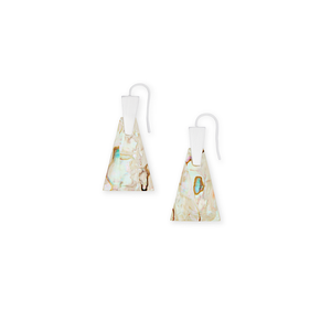 Womens Kendra Scott Collins Bright Silver Drop Earrings In White Abalone - Brother's on the Boulevard