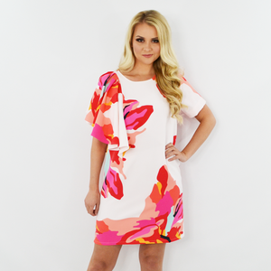 Crosby Jeni Dress in Bougainvillea
