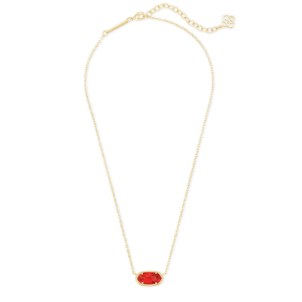 Womens Kendra Scott Elisa Gold Pendant Necklace In Bronze Veined Red Magnesite - Brother's on the Boulevard