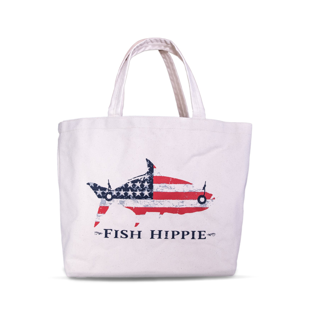 Fish Hippie Patriotic Printed Canvas Tote in White