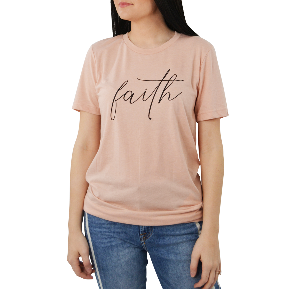 "Womens Brother's ""Faith"" Tee in Pink - Brother's on the Boulevard"