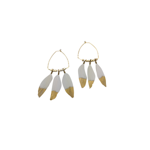 Womens Luxe by Virtue Triangle Gold Dipped Feather Statement Earring in White - Brother's on the Boulevard