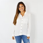 Womens ASTARS Felicity Button Up Blouse in White - Brother's on the Boulevard