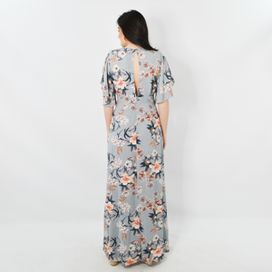 Womens Sisters Floral Wrap Around Maxi Dress in Grey - Brother's on the Boulevard