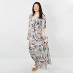 Sisters Floral Wrap Around Maxi Dress in Grey