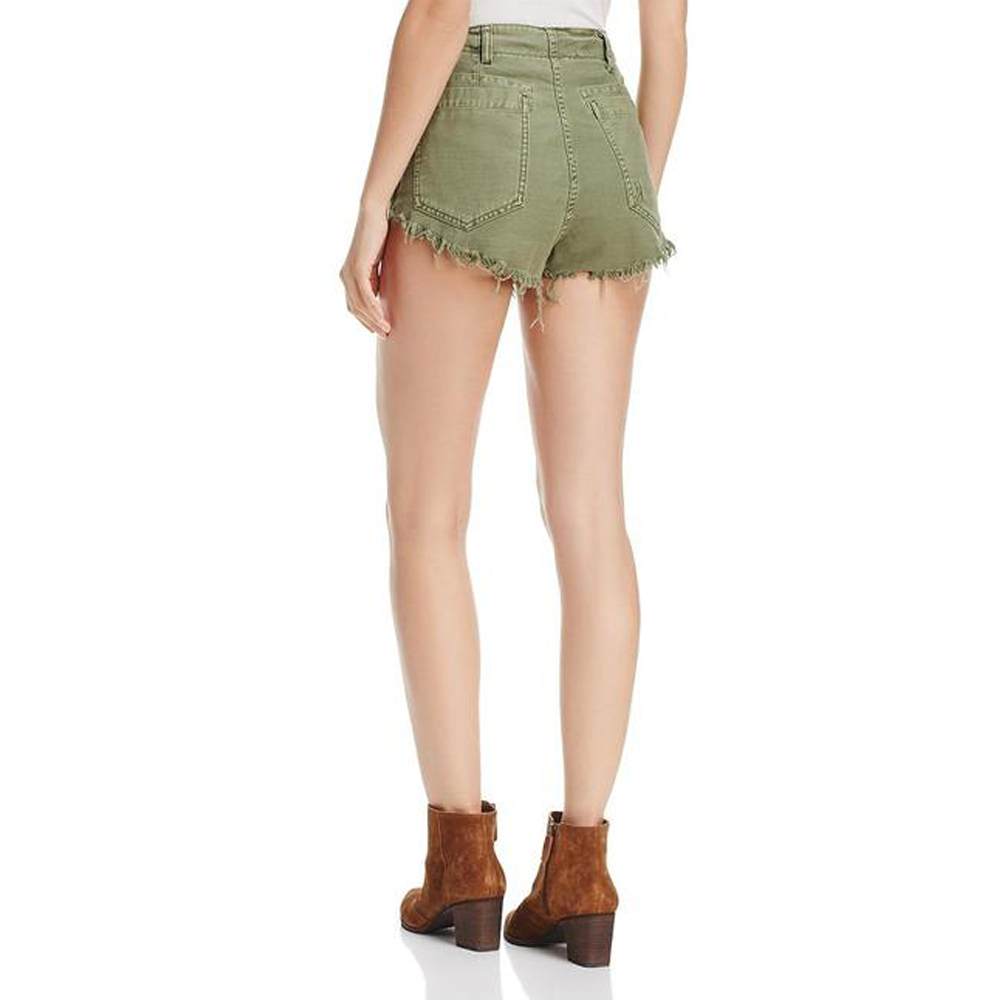 Womens Free People Raw & Patched Standoff Shorts in Moss - Brother's on the Boulevard