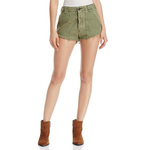 Free People Raw & Patched Standoff Shorts in Moss