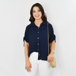 Michael Stars Tess Gauze Button Down Top in Admiral