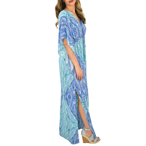 Womens Weekend Vibes Abstract Kimono Leaf Maxi in Turquoise - Brother's on the Boulevard