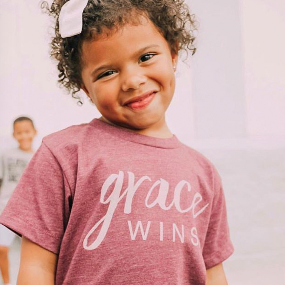 "Brother's Girls ""Grace Wins"" Tee in Maroon"