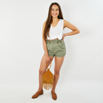 Womens NYLA Paper Bag Short in Olive - Brother's on the Boulevard