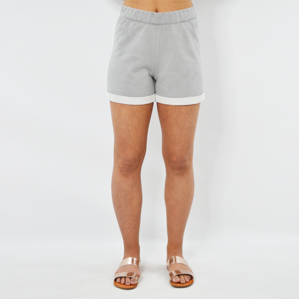 NYLA Brooklyn Vegan Suede Shorts in Soft Grey
