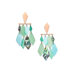 Womens Kendra Scott Hanna Rose Gold Statement Earrings in Abalone Shell Mix - Brother's on the Boulevard