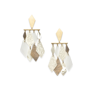 Womens Kendra Scott Hanna Gold Statment Earrings in Ivory Mix - Brother's on the Boulevard