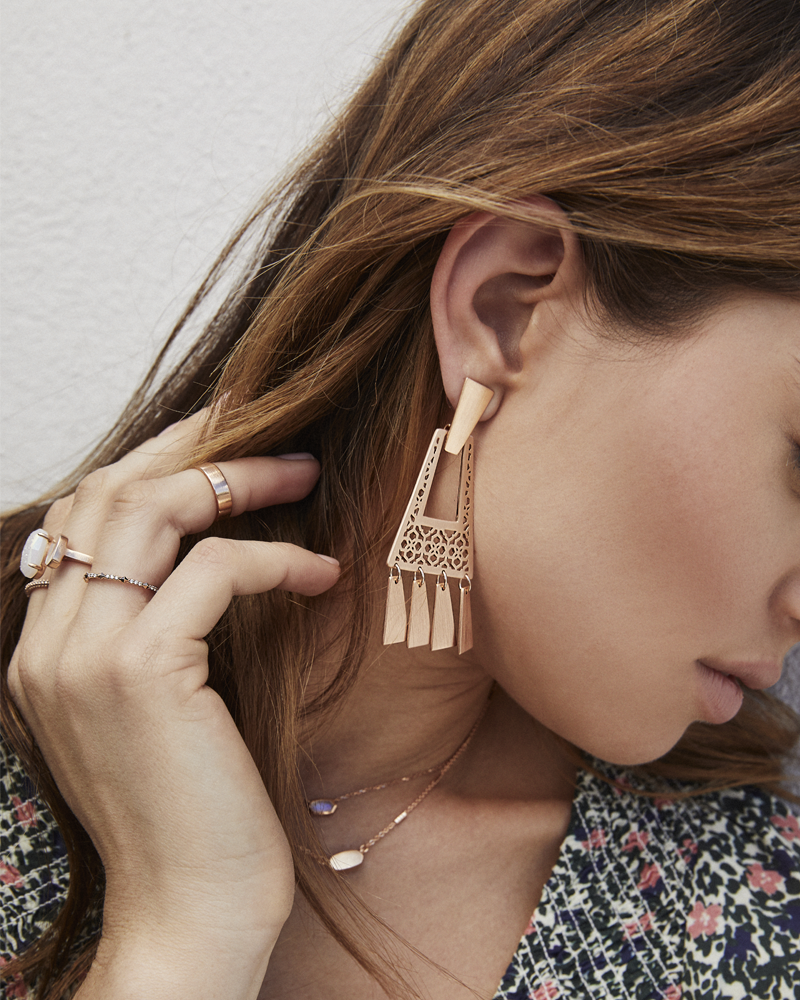 Kendra Scott Kase Rose Gold Fringe Earrings In Rose Gold Filigree