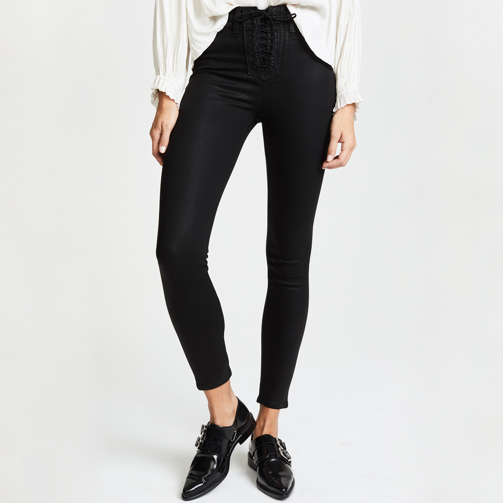 Womens Hudson Jeans Bullocks High Rise Lace Ups in Black Coated - Brother's on the Boulevard