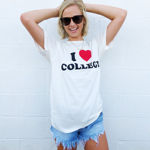 Womens Buddy Love I Love College T-Shirt in White - Brother's on the Boulevard